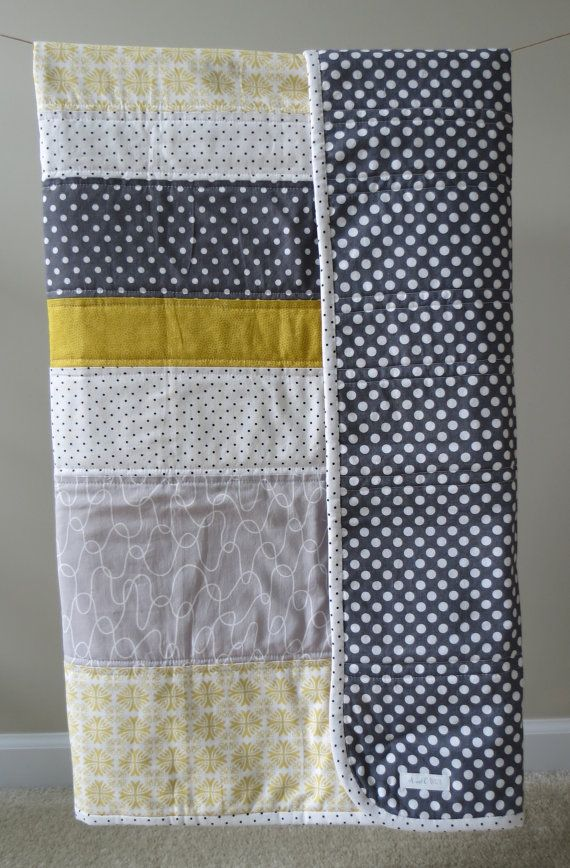 Baby quilt, Toddler quilt - Modern. Yellow, White, Gray, Polka dot. on Etsy, $50.00