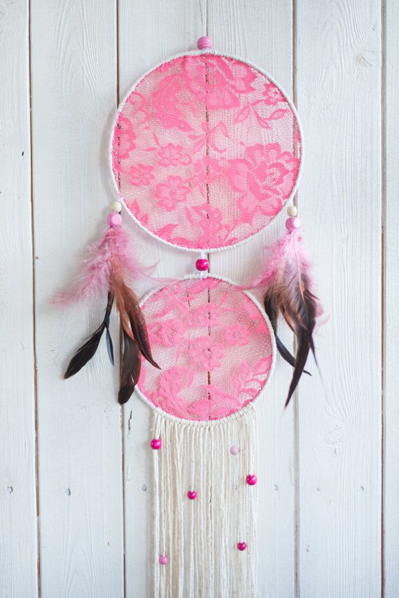Pink dream catcher Lace dream catcher Wall by MysteriousForests