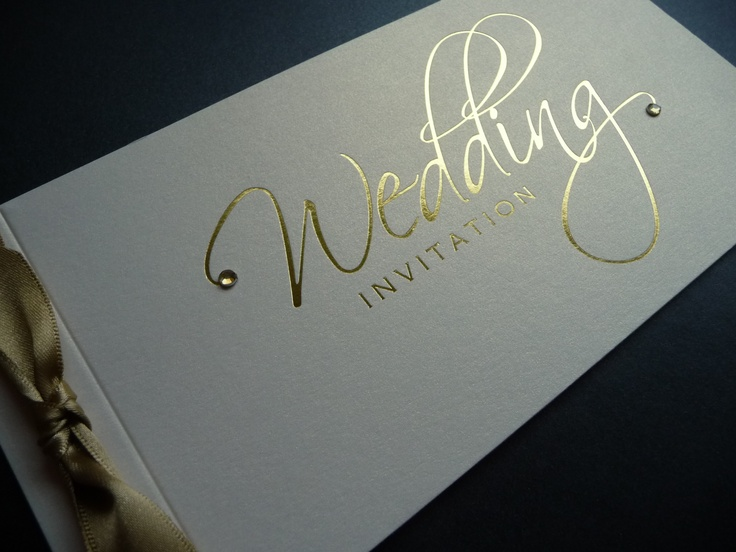 Classic Ivory  Gold foiled cheque book Wedding Invitation