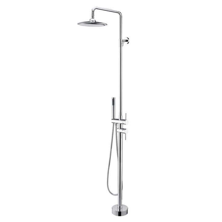 Outdoor Shower Head Part - 23: $350.00 Brewst Freestanding Rain Shower Head And Hand Shower