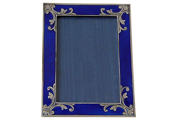 Royal Blue Enamel & Silver Picture Frame