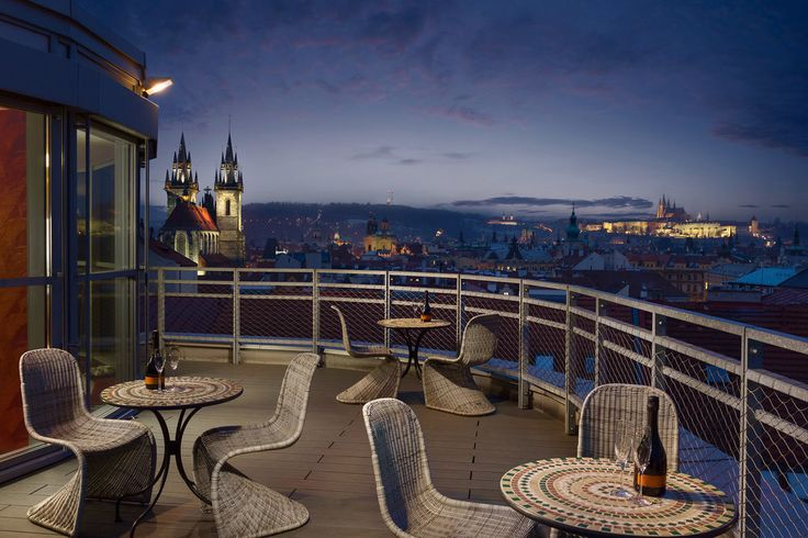 Hotel Astoria in Prague with night view.