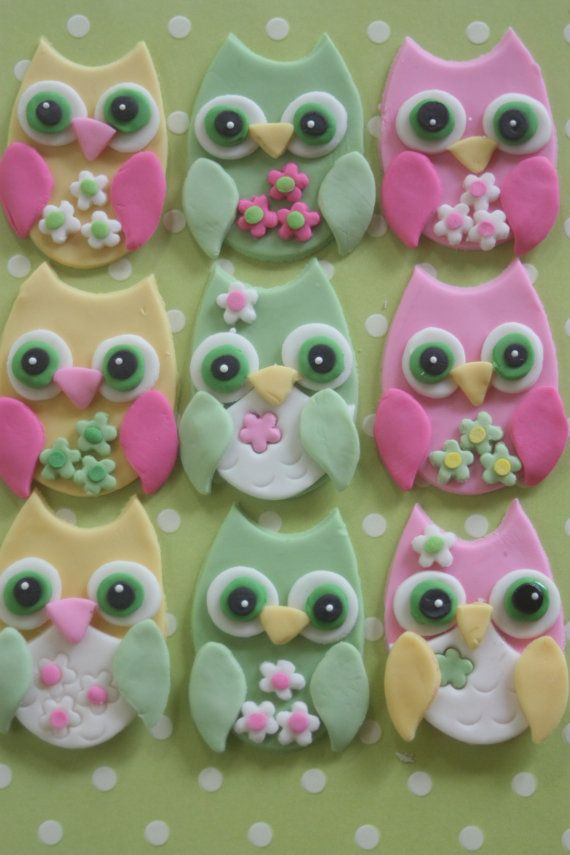 12 Fondant cupcake toppers--owl teardrop cutter, then circle cutter to make ears