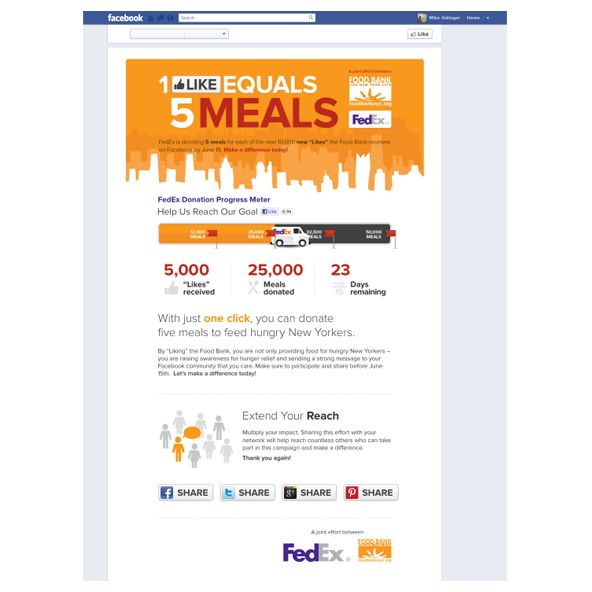 """1 Like Equals 5 Meals by Bobira:  How do make a Facebook """"Like"""" mean something? You make it worth five meals… and call on Bobira to deliver a design that engages users.  The FoodBank and FedEx 1 Like Equals 5 Meals program came to life after Ketchum and Bobira designed and developed a Facebook application that tracked and promoted the initiative. For every """"Like"""" on the page, FoodBank and FedEx donated FIVE meals to New Yorkers in need."""