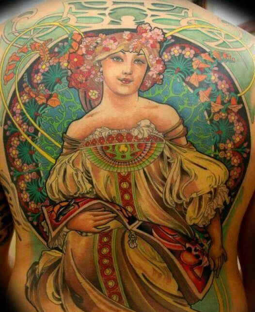 Art Nouveau tattoo- cool framing and background detail