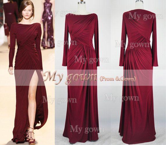 long sleeves floor length burgundy prom dress wedding by mygown 15990
