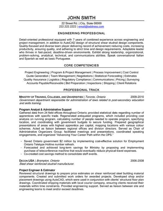 click here to download this engineering professional resume template