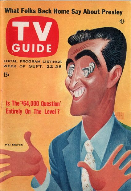"""Hal March of """"The 64,000 Dollar Question"""" (Illustration by Al Hirschfeld)  September 22-28 1956"""