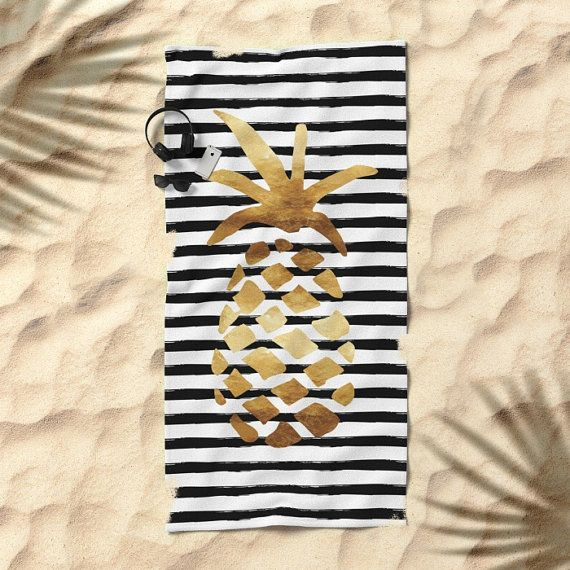 Oversized Beach Towel Pineapple and Stripes Gold Black and