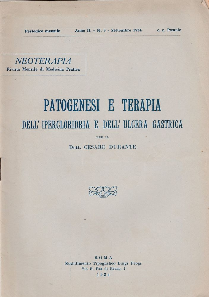 C. Durante Patogenesi e Terapia dell'ipercloridria e dell'ulcera gastrica 1934