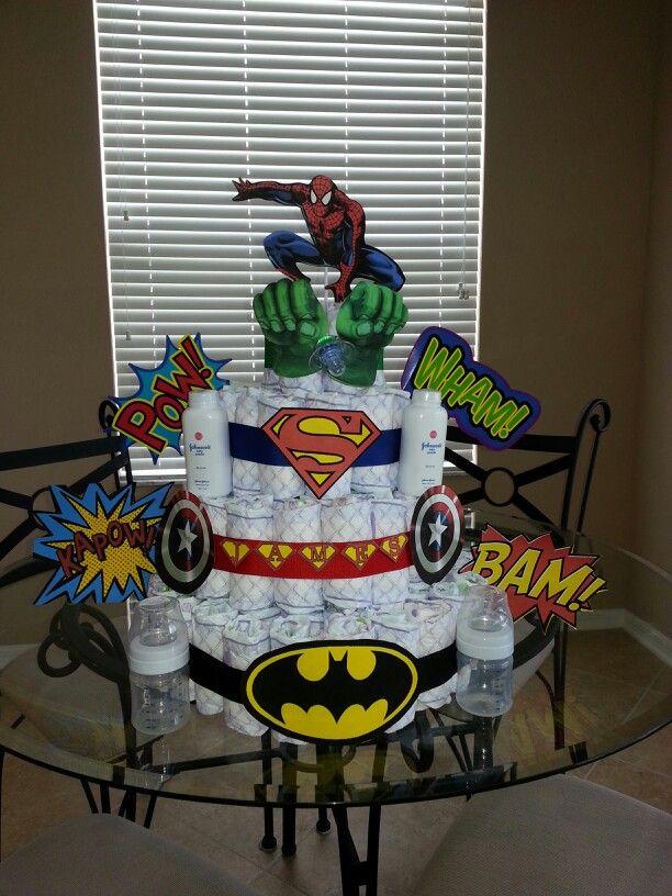 Superhero diaper cake