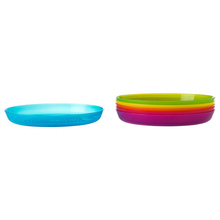 KALAS Plate - IKEA  $1.99 for 6 everyone can get their own family color    my girls colors are pink and orange.  i have blue/aqua/turquoise  hubby is red