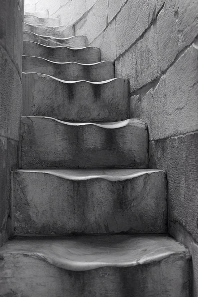 Leaning Tower of Pisa steps as you see with all the years of visitors the steps have worn down, Italy