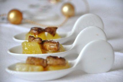 Cuillères de dés de foie gras poêlés sur dés de pommes poêlés - Dans la cuisine d'Audinette