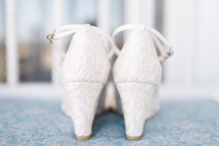 lacy white wedding shoes