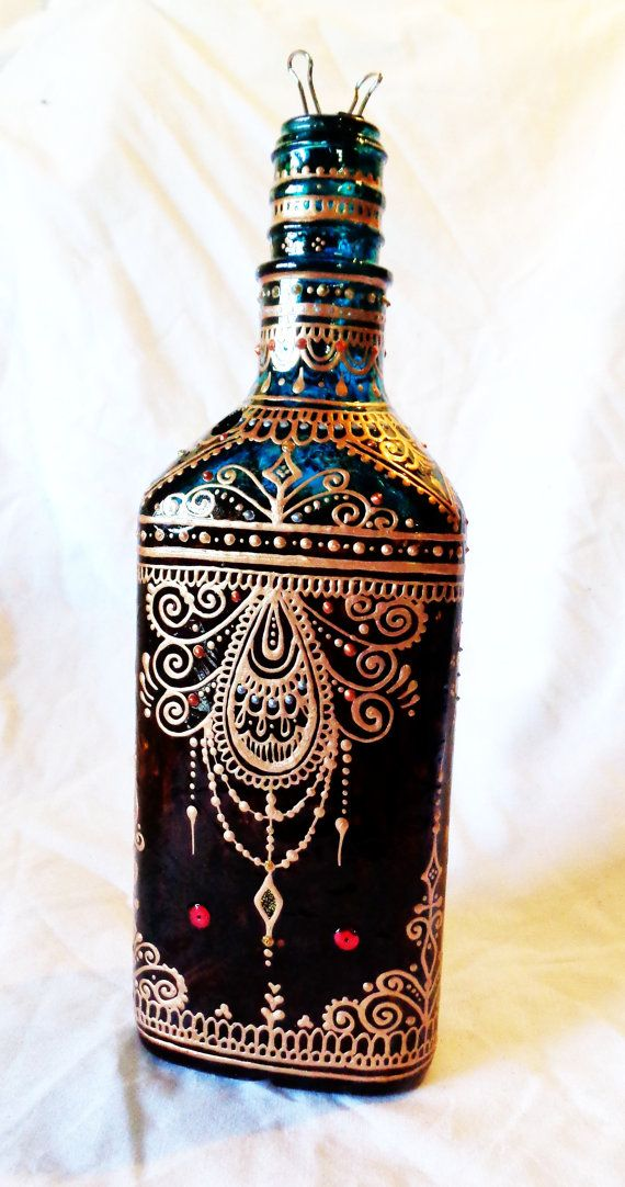 Incense Bottle Henna Mehndi Three-Sided Hand-Painted por Behennaed