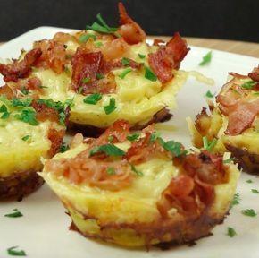 Pieczone ziemniaczki w formie babeczek z serem i boczkiem Czytaj dalej na: http://www.popularne.pl/ziemniaczki-babeczki/
