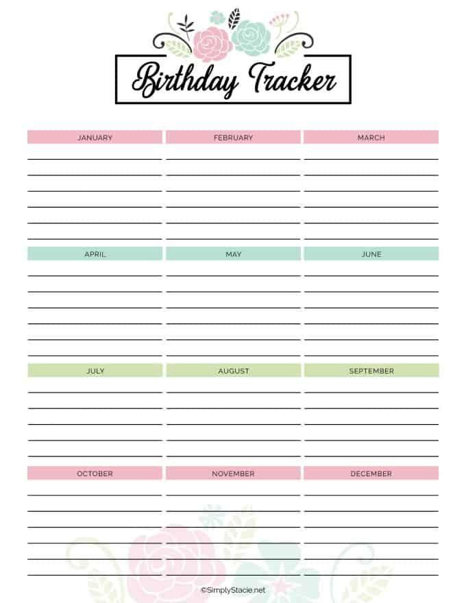 2019 Birthday Calendar 2019 Yearly Calendar Free Printable   2019 calander   Birthday