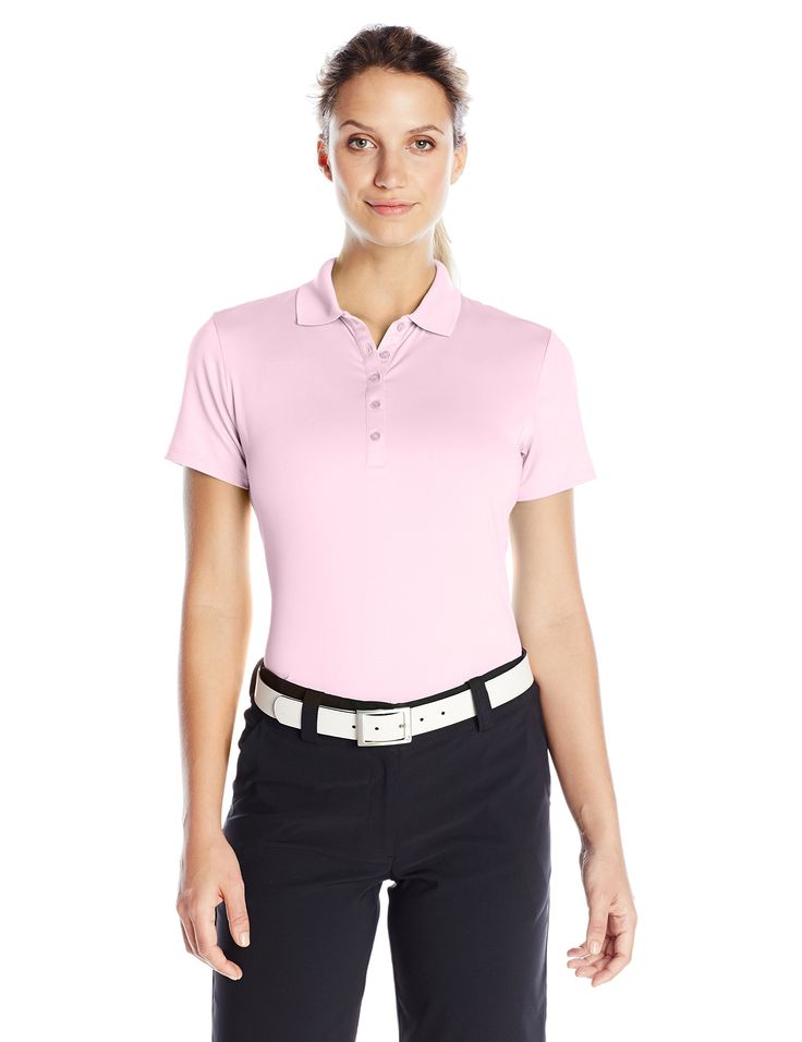 Callaway Women's Golf Performance Solid Short Sleeve Polo Shirt with Stretch, Pink Lady, X-Large. Opti-Dri: Transfers moisture away from the body to aid in evaporation. Opti-Shield 50: creates a layer of protection from the sun's harmful rays. Opti-Stretch: fabric features interwoven layers of spandex to ensure maximum range of motion so the garment moves with the golf swing. Machine wash cold, Tumble dry.