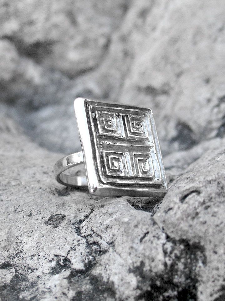Greek Meander Ring - Square Ring - Greek Gift - Silver Greek Ring - Greek Jewelry - Ancient Greek Ring - Gift For Her - Statement Ring by profoundgarden on Etsy