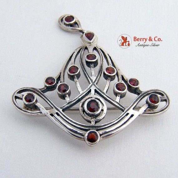 Vintage Sterling Silver Red Gemstone Brooch by BerrysGems on Etsy