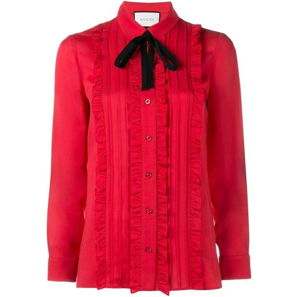 Gucci Gucci Ruffle Front Shirt (€1.055) ❤ liked on Polyvore featuring tops, red, tie top, peter pan shirt, long sleeve tops, long-sleeve shirt and red long sleeve shirt