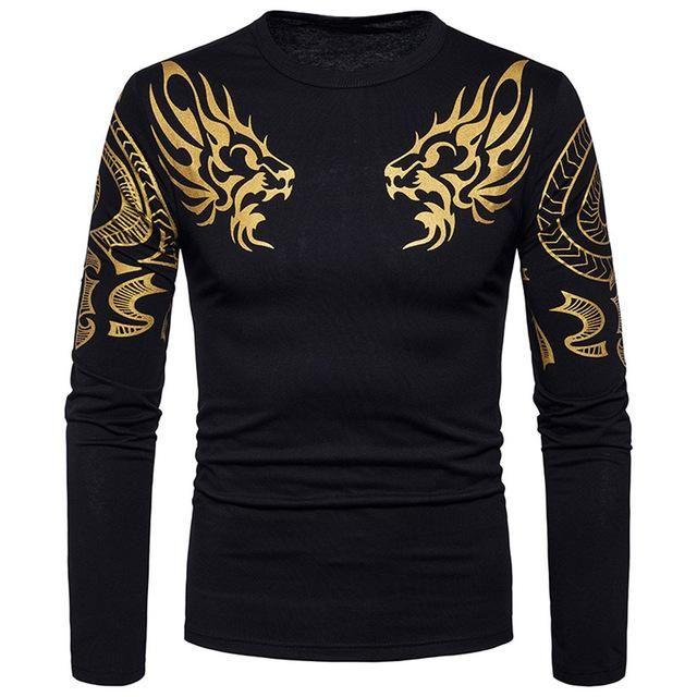 Korean pop Style Men's T-shirts Fashion Mens Slim Fit Casual Long Slee