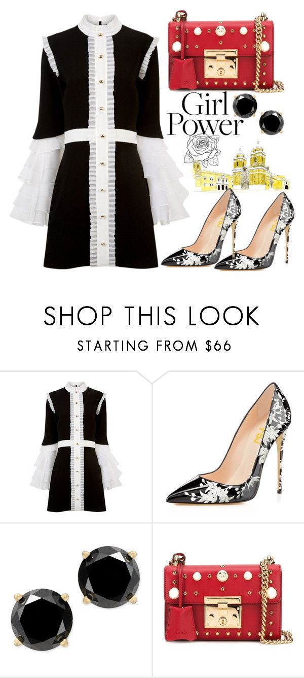 """""""FSJ floral print heels"""" by fsjamazon ❤ liked on Polyvore featuring macgraw and Gucci"""