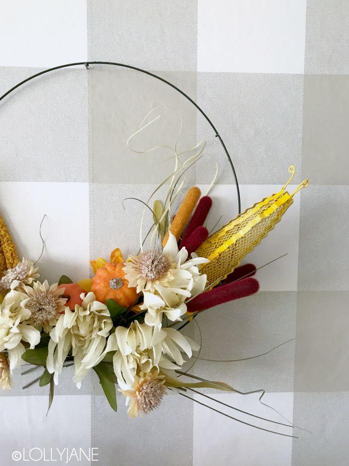 EASY Dollar Store Fall Hoop Wreath