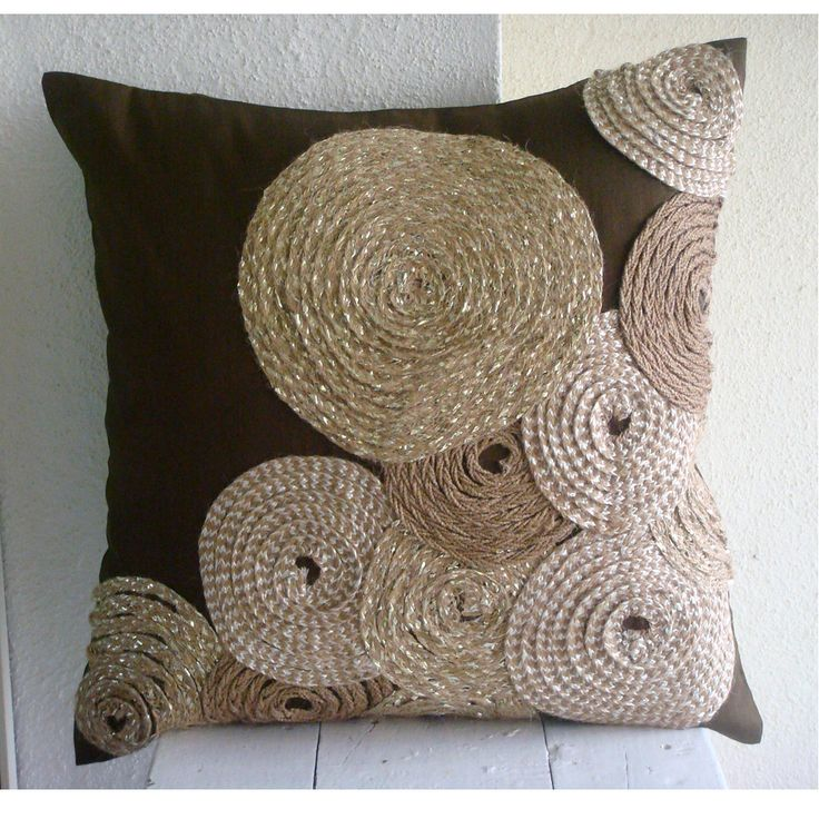 Adorned by Jute - Pillow Sham Covers - 24x24 Inches Silk Pillow Sham Cover Embroidered with Jute Cord. $51.75, via Etsy.