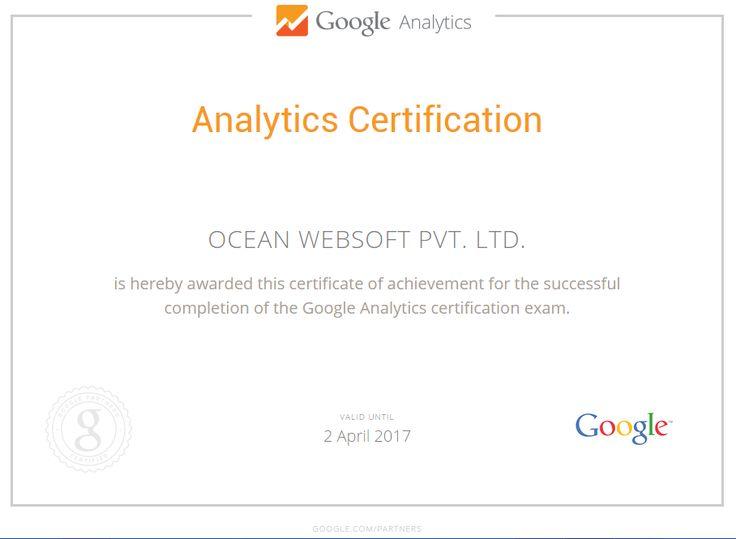 Ocean Websoft : Google Analytics Certification !