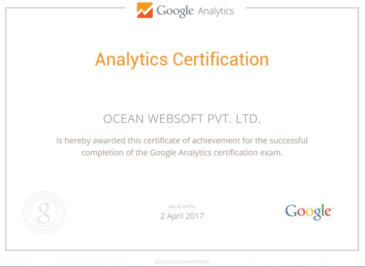 Ocean Websoft : Google Analytics Certification !