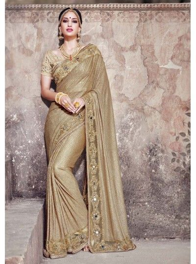 Buy Bridal Saree Online Beige Crushed Bridal Designer Latest Fancy Saree. Free Shipping and COD Available only in India. Offer of the day