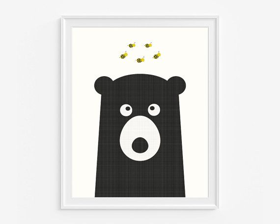 Woodland Nursery Wall Art Honey Bear Print Black And