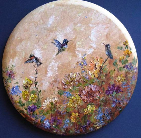 hummingbirds original oil painting on round canvas 20