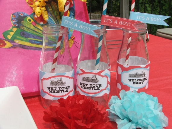 Train Baby Shower Decorations Boy Printable by BusyChickadees, $20.00
