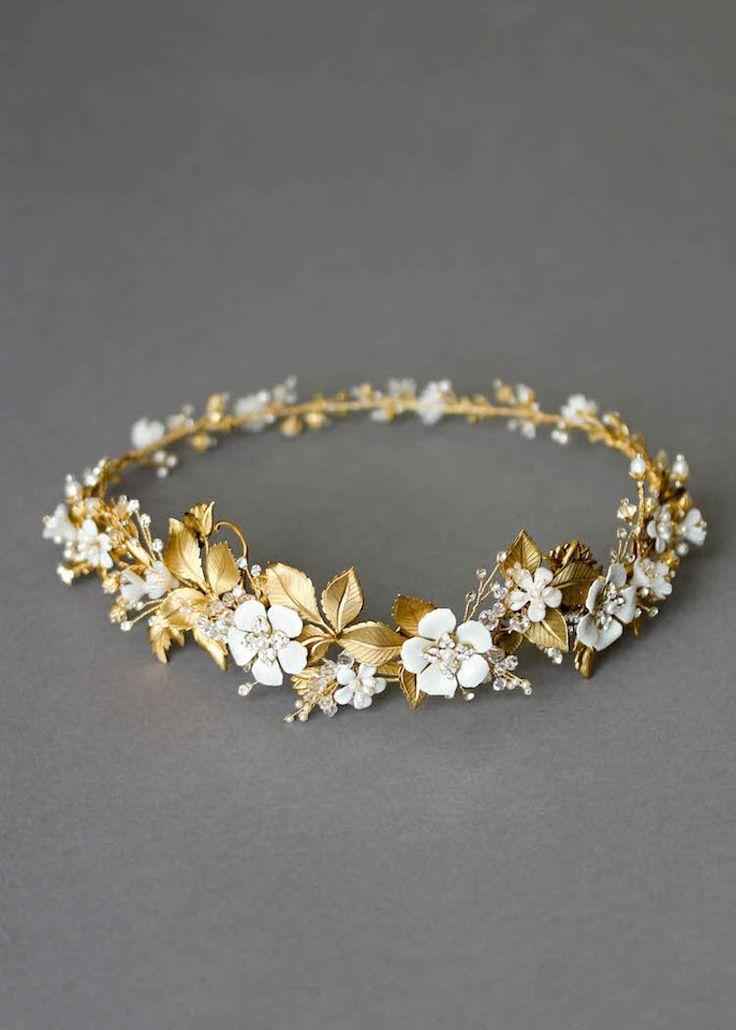 BESPOKE für Saba_Ein goldener Hochzeitshalo für Saba 6   – Blumenkränze für die Hochzeit – Ideen für die Brautfrisur