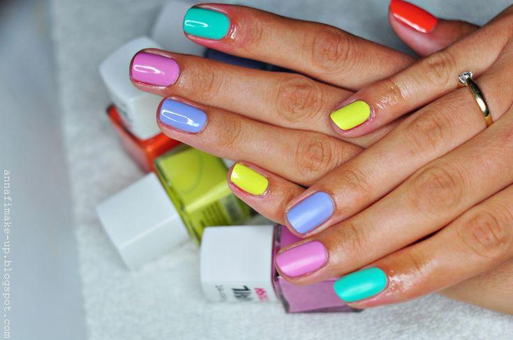 kolorowy manicure, shine top coat, mat top coat,