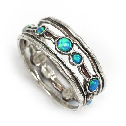 Silver Ring with Opals.