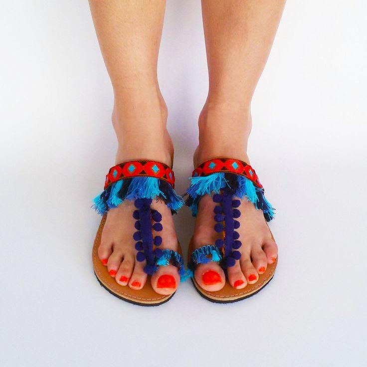 Bohemian sandals ''Barbados'', Pom Pom Sandals, Boho Slingback Sandals by ElizabethShoes on Etsy https://www.etsy.com/uk/listing/280549656/bohemian-sandals-barbados-pom-pom