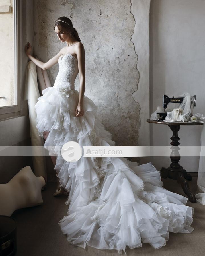 HXE Tulle perline fatte a mano fiori Sweetheart asimmetrico Mini Abiti da sposa for dig