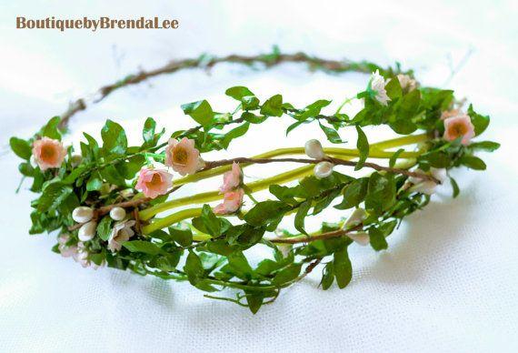 BBBL Mini pink flower head wreath/garland headband/rustic whimsy/bride/girl/women/circlet/halo/floral crown/woodland/hair ring