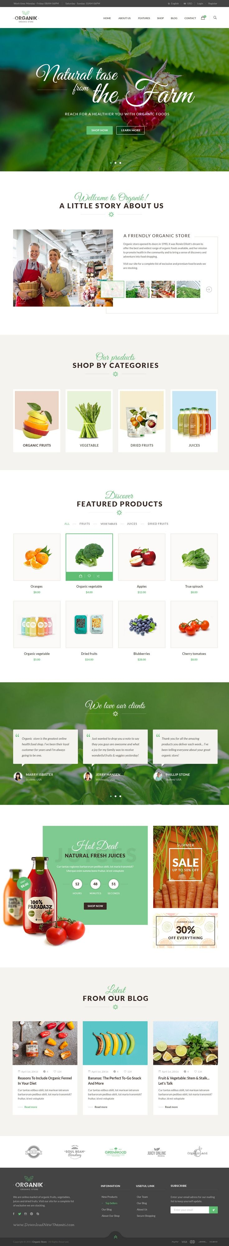 Organik is an amazing clean PSD template for #Organic Food #Shop #websites. Download Now!