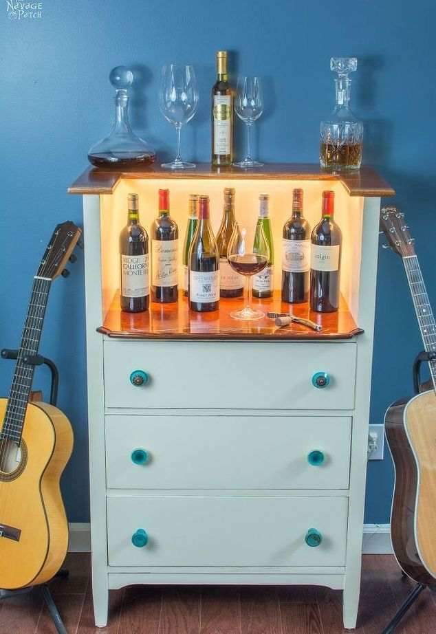 upcycled old chest of drawers to wine bar, painted furniture, repurposing…