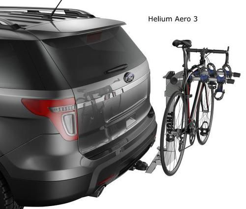 The Thule Helium 3 bike hitch rack 9043 weighs in at almost half the weight of traditional hitch bike racks.  A lightweight aluminum construction enables quick and easy installation and removal. The H