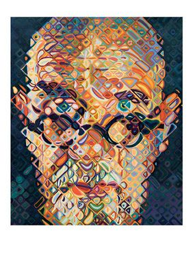 Chuck Close Self-Portrait 2014 84 colour woodcut Edition 70 copyright Chuck Close, courtesy Pace Gallery Photography courtesy Pace Prints