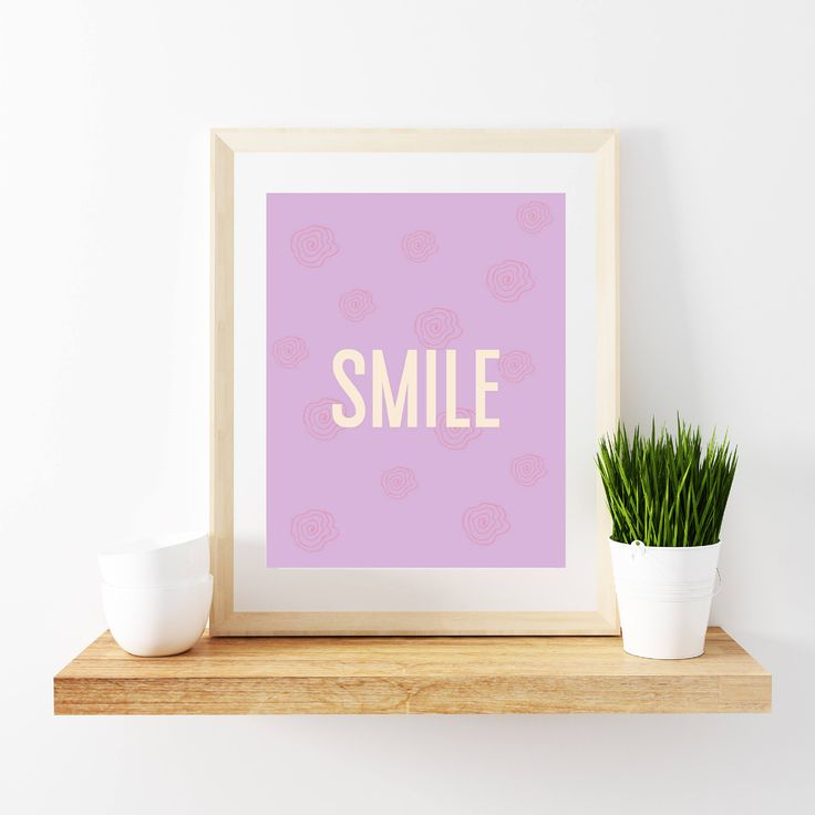 This Purple Color Background With Flowers Printed And The Word Smile On White Will