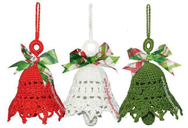 Campanas de Navidad tejidas a crochet - Christmas crochet bells