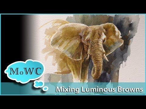 Mischen von leuchtenden Aquarell-Brauntönen + Elefanten-Demo-Aquarell & Gouache – YouTube