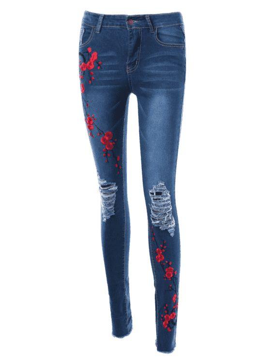 Flor de ciruelo bordado apenado Jeans - Azul M
